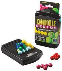 Solve 2-D and 3-D puzzles by rearranging game pieces. Pick a puzzle from the book, set up the challenge, and then place the remaining game pieces to solve the puzzle. Kanoodle Genius offers 200+ brain-busting puzzles for you to solve all on your own.  You'll feel yourself getting smarter!  $13.99