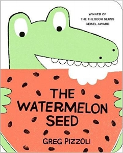 With perfect comic pacing, Philadelphian Greg Pizzoli introduces us to one funny crocodile who has one big fear: swallowing a watermelon seed. Will vines sprout out his ears? Will his skin turn pink? This crocodile has a wild imagination that kids will love, and the new board-book format makes this hilarious romp the perfect pick for preschoolers. $7.99
