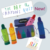 The Day the Crayons Quit finger puppet set. $25