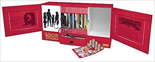 The Ultimate Boxcar Children Collection!  Packaged in a deluxe keepsake case with magnetic door closures and a drawer for storing top secret clues and notes, this bookshelf comes with 19 books and can hold more than 50 Boxcar Children Mysteries. Included in the boxcar keepsake case:  An exclusive 128-page activity book with quizzes, puzzles, crafts, and games   Real magnifying glass   Sticker sheet  $132.81