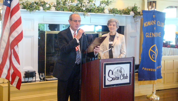 Glen Cove Mayor Ralph Suozzi with former Club President Ellen Blue