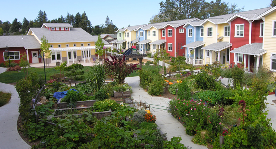 Colourful apartment units and townhouses cluster around the communal garden with a common house at the end at   Petaluma Avenue Cohousing   in California
