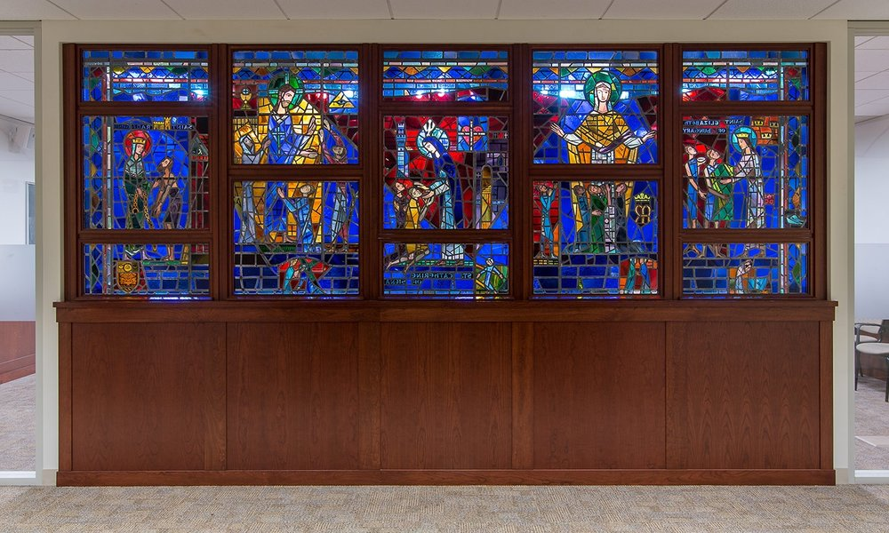Connell School of Nursing relocated stained glass panels