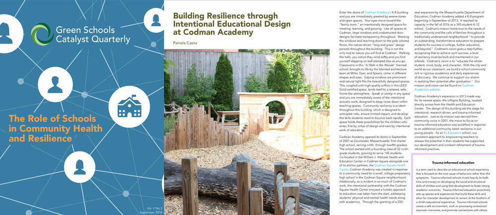 Codman Academy is featured in Green Schools Catalyst Quarterly - Codman Academy Charter Public School's new K-8 school housed in the historic Lightow Building is featured in the September 2018 edition of Green Schools Catalyst Quarterly. The issue focuses on the role of schools in community health and resilience. Read more.