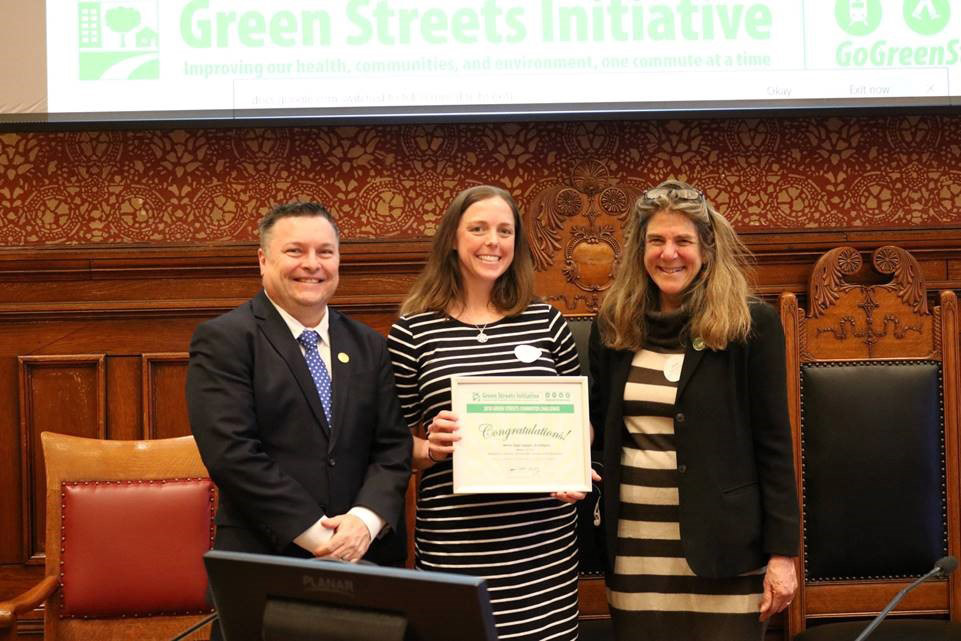 Cambridge Mayor Marc McGovern with MDS's Beth Eisenhower and Green Streets Director Janie Katz-Christy
