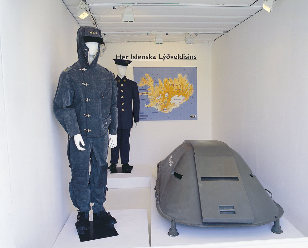 HER – The Icelandic Army, interior of the display container at Manifesta 4, Frankfurt am Main 2002