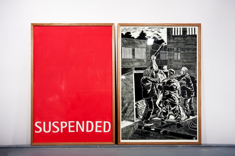 Suspended 2010, image pair, woodcut: 1750 x 1260 mm, paper/acryl: 1750 x 1260 mm, EASTgoesEast, Bunkier Sztuki, Krakow (PL)