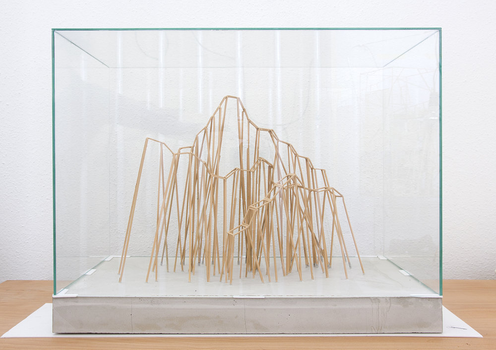 The Reconstruction of the Lomnicky Peak 2015, modell, wood, glass, 46 x 30 x 23 cm