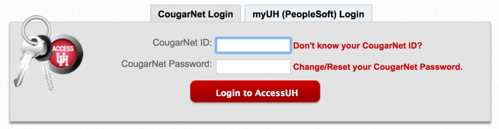 "Step 1   Login to your UH ID on either ""CougarNet Login"" or ""MyUH (PeopleSoft) Login"""