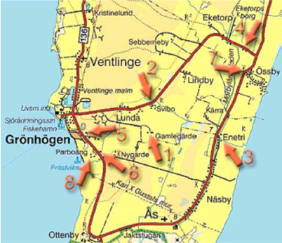 """Map over southern Öland  :  The distance between Grönhögen and Enetri is 7 kilometers. Vedic Art courses in Enetri. Adress: Enetri 212, 386 64 Degerhamn. The course is located 200 metres north to this address. You will find a small road sign """"Vedic Art""""."""