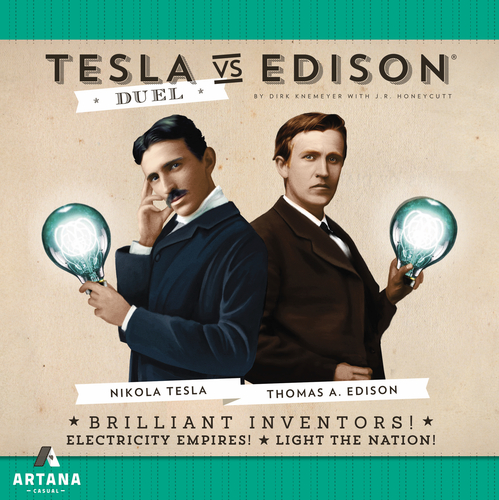 JR developed Tesla vs. Edison: Duel, a two-player head-to-head card game from Artana and designer Dirk Knemeyer