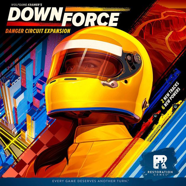 JR co-designed Downforce: Danger Circuit, which added two new tracks and new powers to the Dice Tower Award-winning original, Downforce.