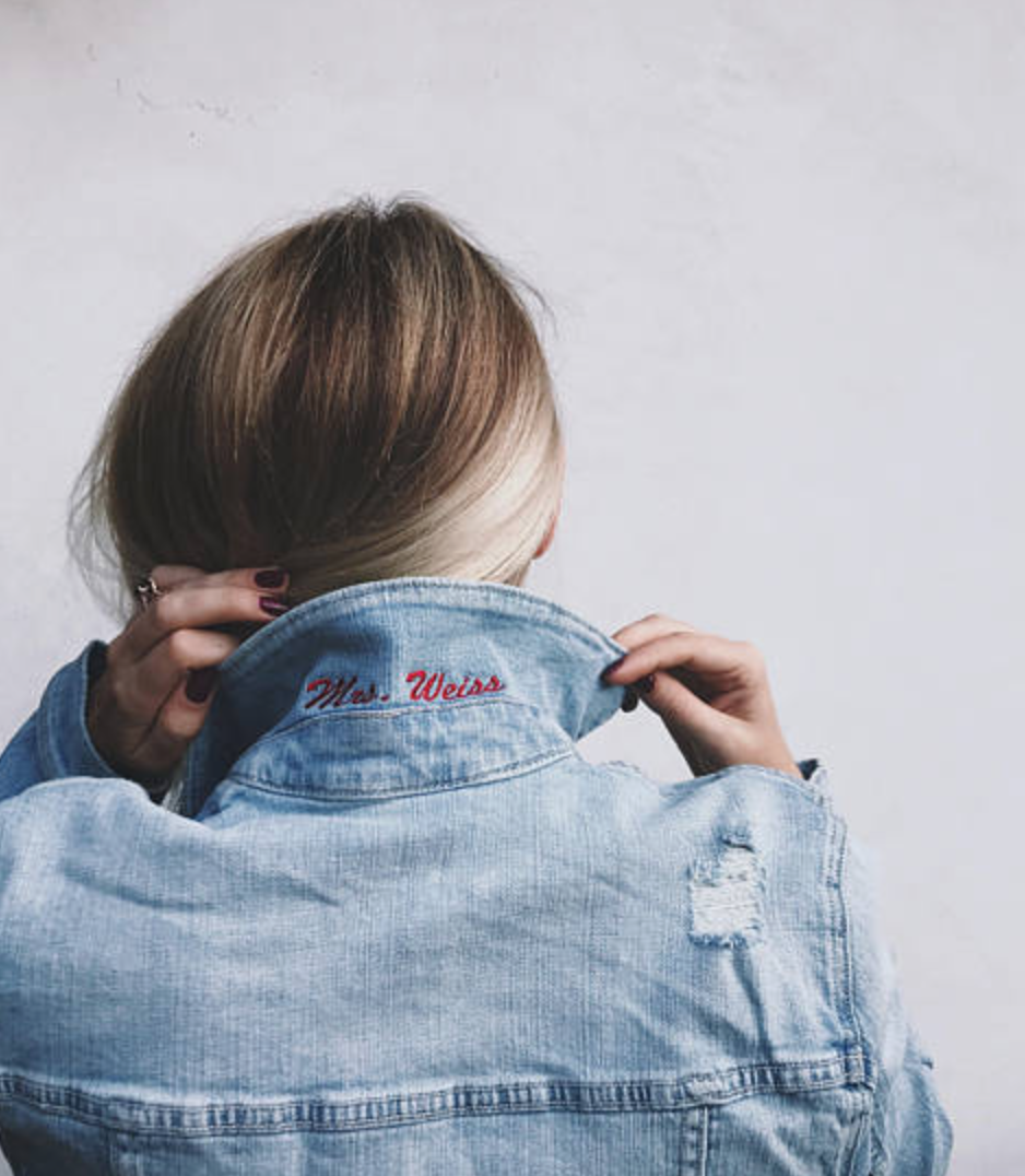 Personalized Bride Popped Collar Denim Jacket