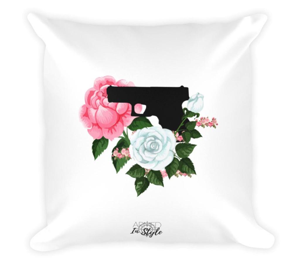 Pistol & Petals Dry Fire Pillow, $29.50 -