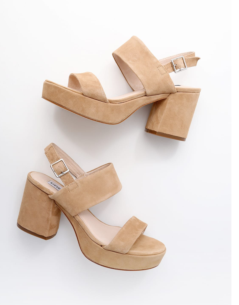 Reba Tan Suede Leather Platform Sandals, Steve Madden - Photo Credit: Lulus.com