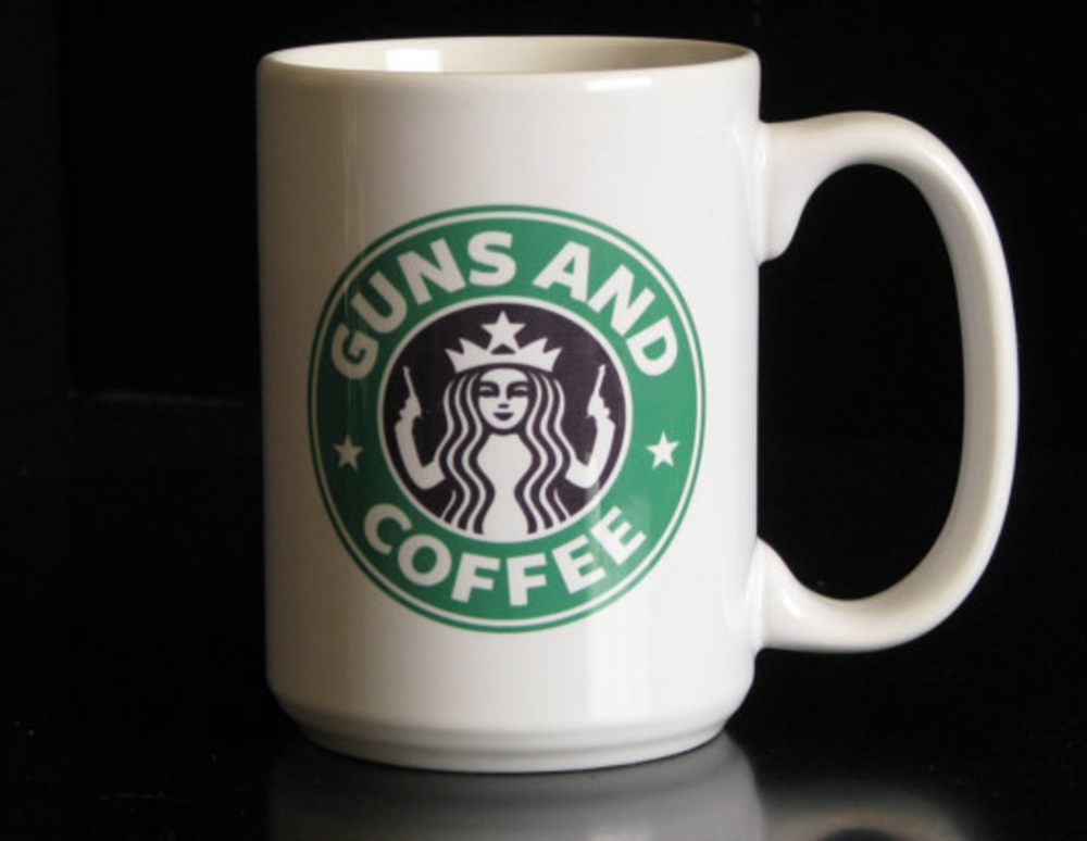 TheGoldenGear, Guns and Coffee 15 oz. Coffee Cup, $12 - Photo Credit: TheGoldenGear on Etsy