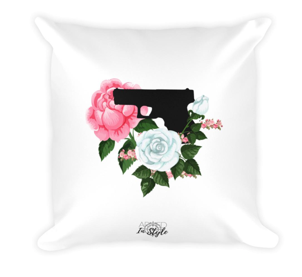 Armed In Style, Pistol and Petals Dry Fire Pillow, $29.50 - Photo Credit: Armed In Style