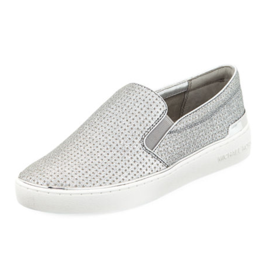 """MICHAEL by Michael Kors """"Kyle"""" Metallic Perforated Leather Skate Sneakers, $55  Photo Credit: N eiman Marcus"""