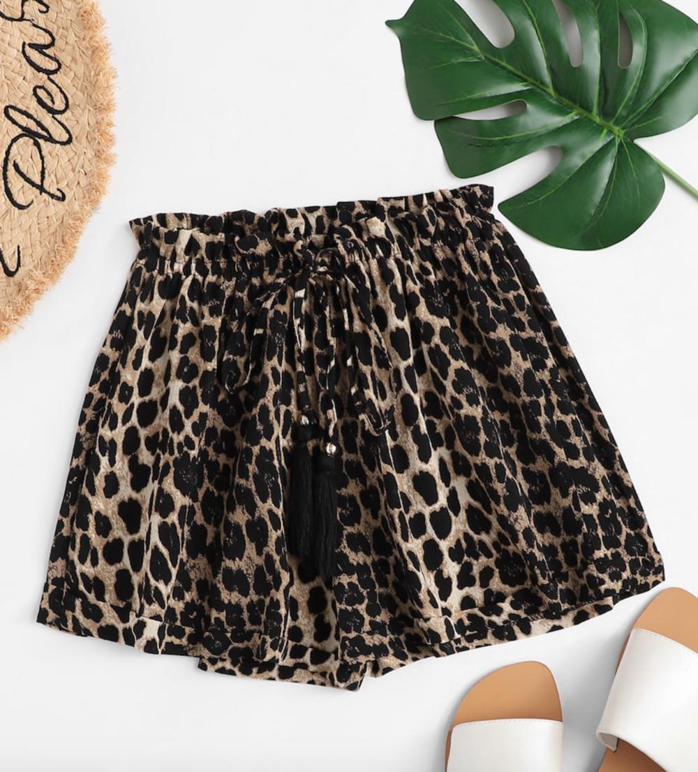 Leopard Drawstring Waist Shorts from Shein, $8  Photo Credit:  Shein