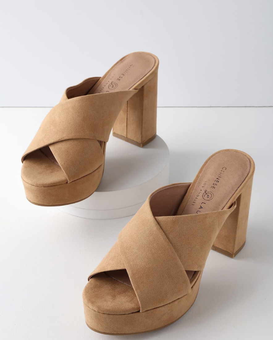 Teagen Camel Suede Leather Mules from Chinese Laundry, $62  Photo Credit:  Lulus