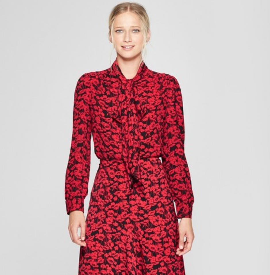 Women's Long Sleeve Exaggerated Tie Neck Blouse by Who What Wear, $29.99  Photo Credit:  Target