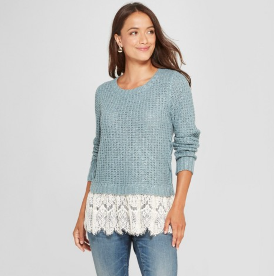 Women's Long Sleeve Lace Twofer Sweater by Knox Rose, $29.99  Photo Credit:  Target
