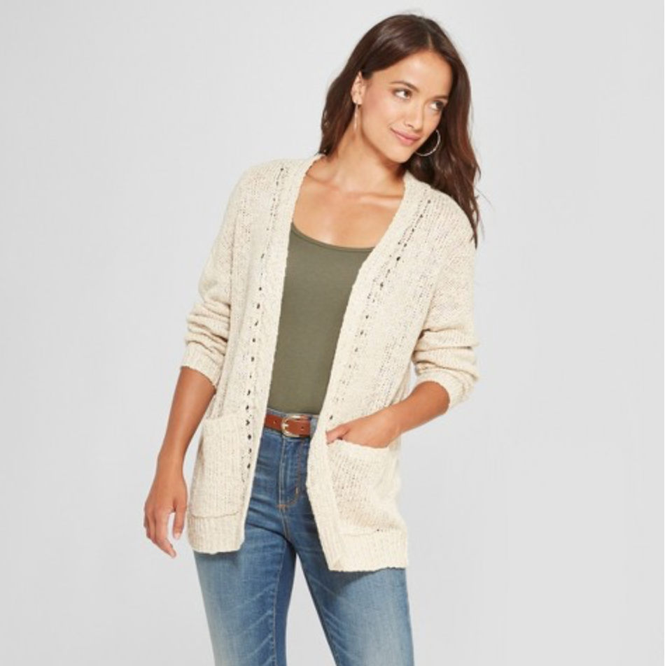 Women's Long Sleeve Lace-Up Back Open Cardigan by Knox Rose, $29.99  Photo Credit:  Target