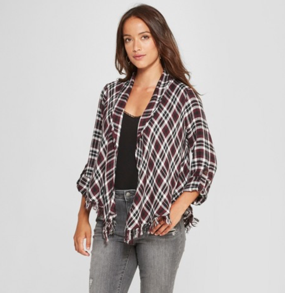 Women's Plaid Fringe Open Layering Jacket by Knox Rose, $27.99  Photo Credit:  Target