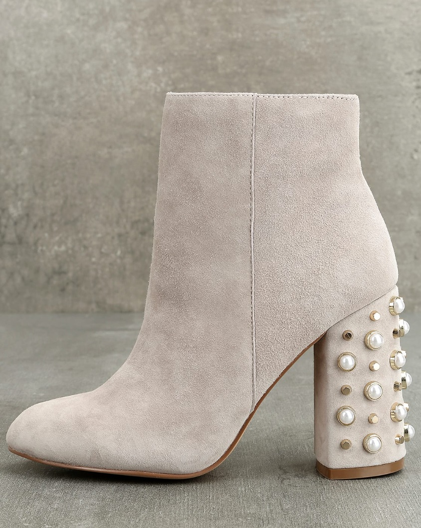 Yvette Taupe Suede Studded Booties