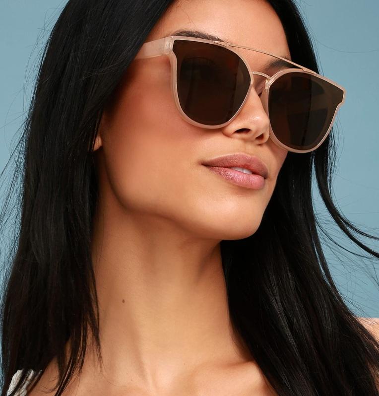 Corbin Rose Gold and Beige Sunglasses, Lulus, $16