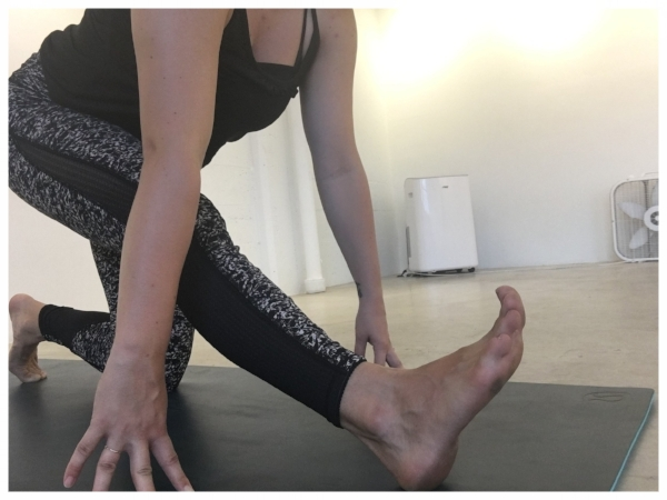 HAMSTRING STRETCH   Foundation Tips:   * Hips reach back * Chest reaches forward * Toes point up, reach through the heel