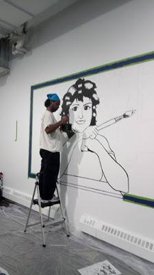 Me working on my SPACE mural - Photo by Jami Marlowe