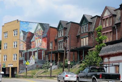 """""""The Bride"""" on Penn Avenue (tromp l'oeil painting on far left)"""