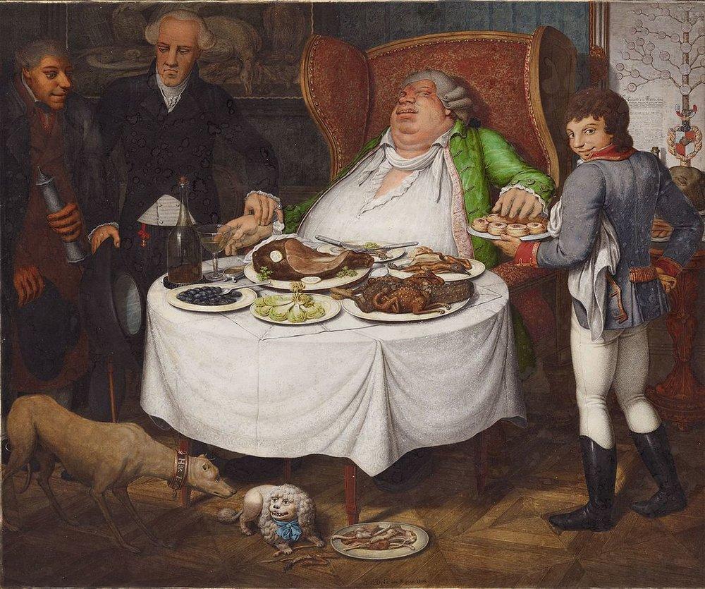 """An unhappy man amidst plenty: """"Der Voller""""by Georg Emanuel Opiz."""