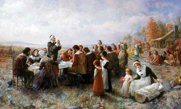"""Thanksgiving"" by Jennie Augusta Brownscombe; public domain photograph of a public domain painting"