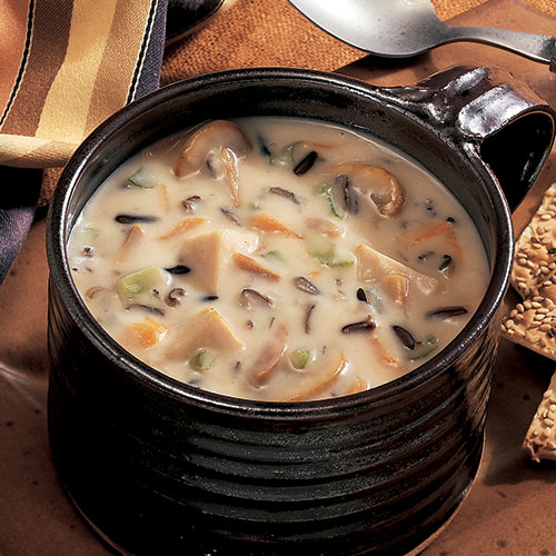 LEFTOVER HOLIDAY TURKEY CAN BE USED TO PREPARE THIS ELEGANT SOUP THAT'S SUITABLE FOR GUESTS.