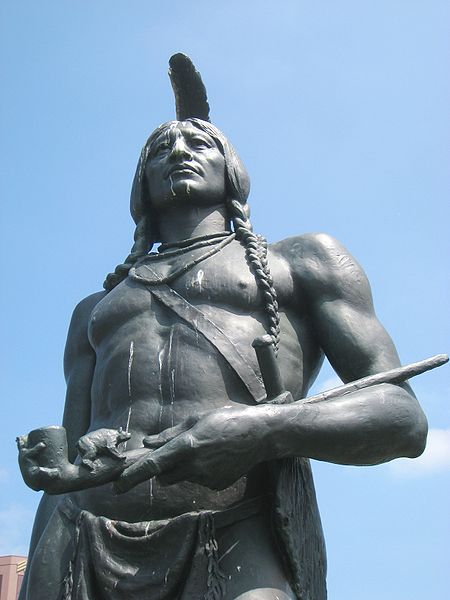 """Massasoit Great Sachem of Wampanoag, Friend and Protector of the Pilgrims, 1621."" by Sculptor Cyrus E. Dallin. Photo - public domain."