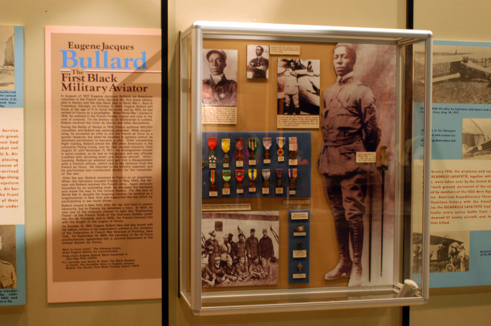 DAYTON, Ohio -- Eugene Jacques Bullard exhibit in the Early Years Gallery at the National Museum of the United States Air Force. (U.S. Air Force photo)