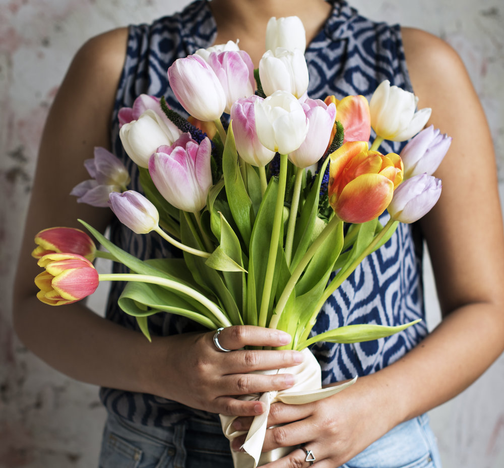 Woman Hands Holding Beautiful Flowers Bouquet