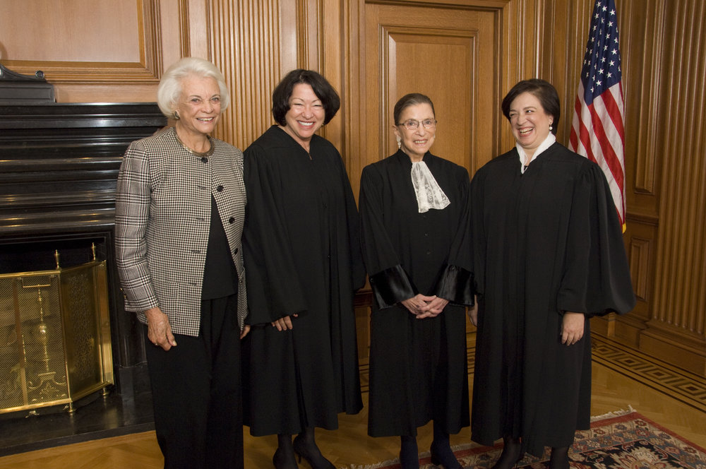 Supreme Court Justices Sandra Day O'Connor, Sonia Sotomayor, Ruth Bader Ginsburg and Elena Kagan.