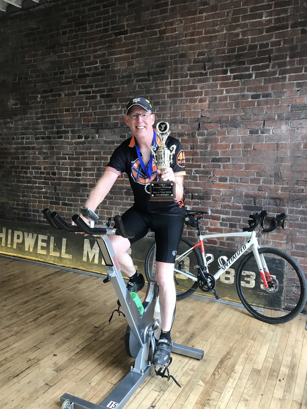 Mike Lloyd, winner of the October 2017 Allegheny YMCA Spin-A-Thon