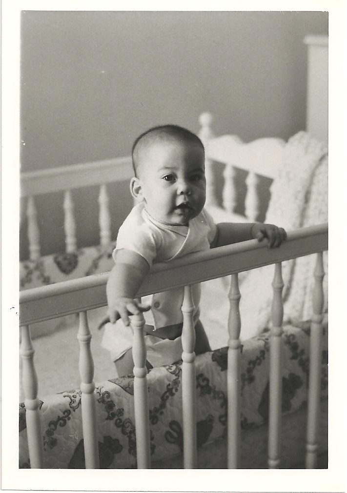 Sarah, the original occupant of the white crib (May 1974)
