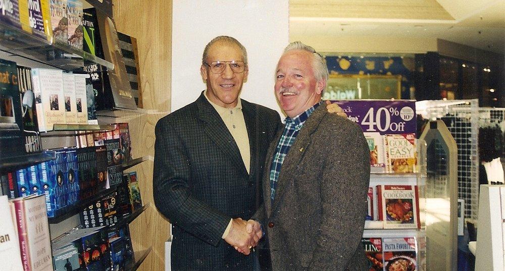 Bruno Sammartino with Jim O'Brien at a book signing at Century III Mall.
