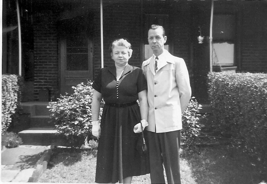 Mary and Dan O'Brien in the backyard of 5410 Sunnyside Street in Glenwood in the mid-50s.