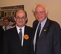 Salman Rushdie with Senator Bernie Sanders