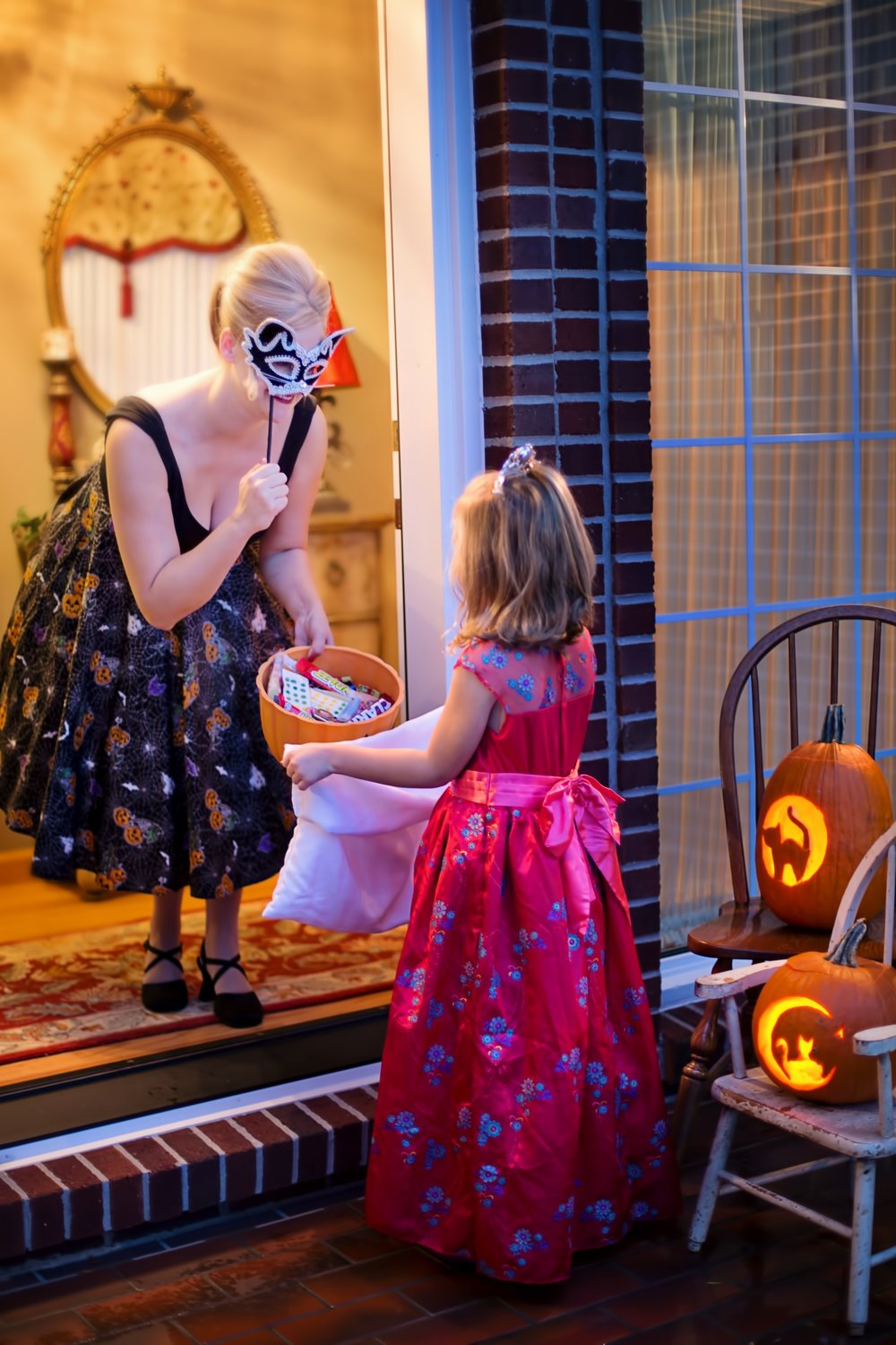 Spoiler Alert - I will not be wearing a dress and holding up a mask. I will be watching to make sure one of my cats doesn't make a run for it when I open the door.