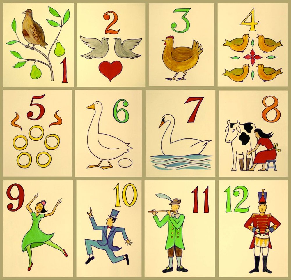 The Twelve Days of Christmas image: By Xavier Romero-Frias - Own work, CC BY-SA 3.0, https://commons.wikimedia.org/w/index.php?curid=23287278