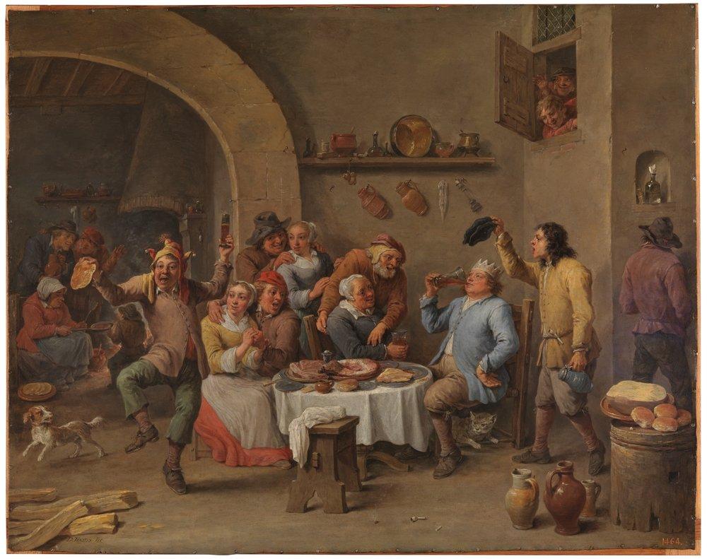 109X David_Teniers_(II)_-_Twelfth-night_(The_King_Drinks)_-_WGA22083.jpg