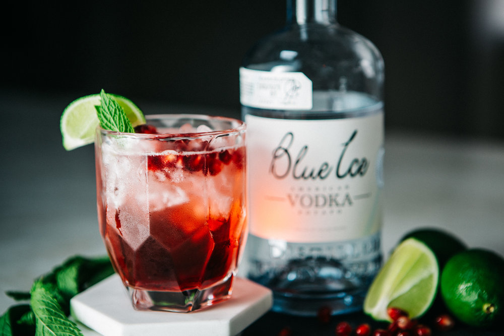 Cranberry Splash - Ingredients:1/2 cup fresh cranberries4 ounces of Blue Ice Vodka5 fresh mint leaves1/2 lime1 tablespoon brown sugarCrushed IceDirections: Mix mint leaves to release flavors. Add Blue Ice Vodka. Add rest of ingredients and proceed to garnish with lime.