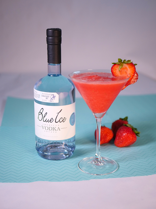 Vodka Daquiri - Ingredients: -1 1/2oz Blue Ice Vodka-1/2 oz Strawberry Schnapps -1 oz Lime Juice -1 tsp Sugar-Strawberries-IceDirections: Pour the ice, strawberry schnapps, vodka, lime juice, sugar, and strawberries into the blender and blend on medium speed for 1 minute.Pour into the cocktail glass and garnish with a strawberry on the rim.